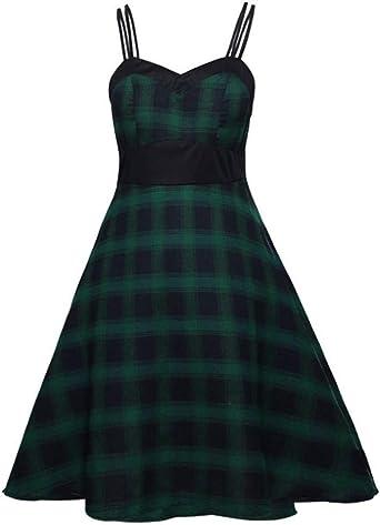 Kolylong® damska sukienka koktajlowa w kratkę, bez rękawÓw, wysoka w talii, bez ramiączek, odświętna, na imprezę, wieczorowa, balowa, L-5XL: Odzież