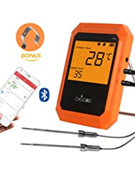 BBQ Meat Thermometer, Bluetooth Remote Thermometer, Wireless Digital Cooking Thermometer with 6 Probe Port for Smoker Grilling Oven Kitchen, iPhone & Android Phone Supported By Uvistare