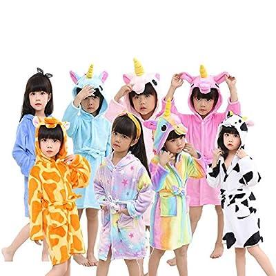 Little Girl's Coral Fleece Unicorn Hooded Bathrobe Unisex Kids Robe Pajamas Sleepwear