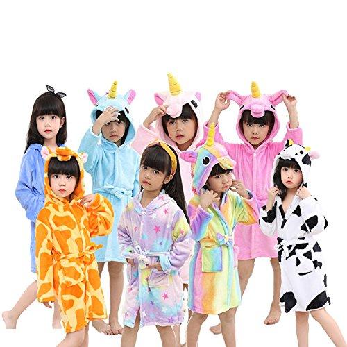 Little Girls Coral Fleece Unicorn Hooded Bathrobe Unisex Kids Robe Pajamas Sleepwear