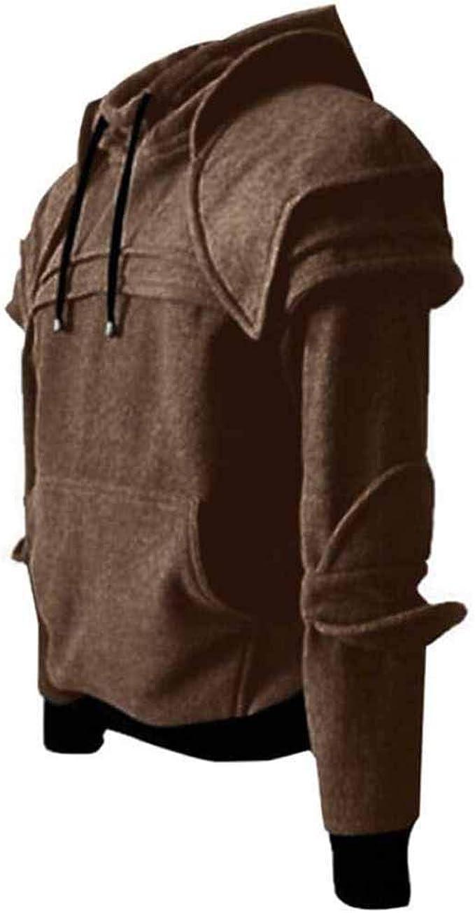 Huateng Herren Knight Hoodies, Kostüm Winter Drawstring Rider Kapuzen schwarz grau