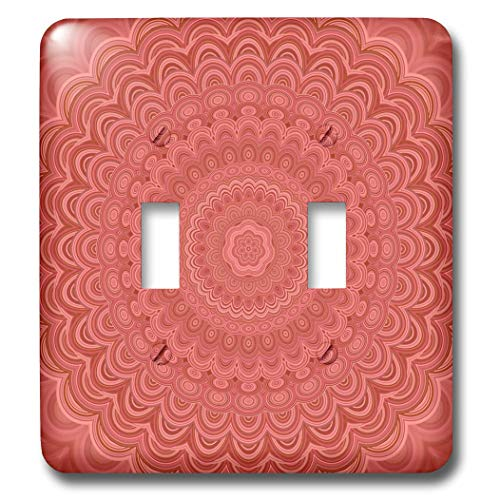 3dRose David Zydd - Floral Mandalas - Coral Mandala - colored floral mandala design - Light Switch Covers - double toggle switch (lsp_289135_2)