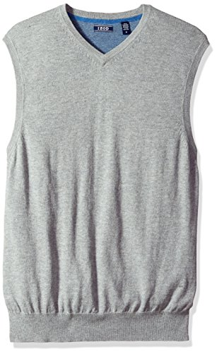 IZOD Men's Fine Gauge Solid Sweater Vest, Light Grey Heather, Large
