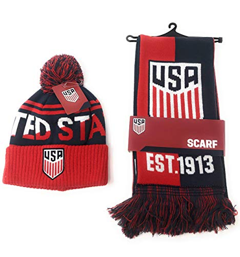 USA Soccer Scarf and United States National Team Beanie Official Licensed USMNT for Kids, Players, Fans, Coaches and Trainers - Red White and Blue International Winter Hat