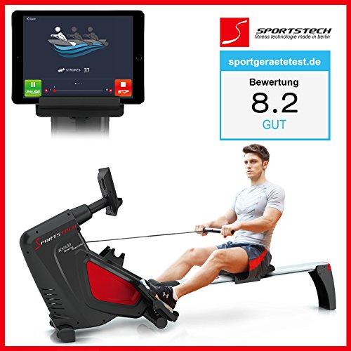 Sportstech RX500 Rudergerät mit Smartphone steuerbar - Fitness App mit Trainingsergebnis - 12 Ruderprogramme + 4 Pulsprogramme - 16 Widerstandsstufen - Wettkampfmodus - Pulsgurt inkl. - klappbar