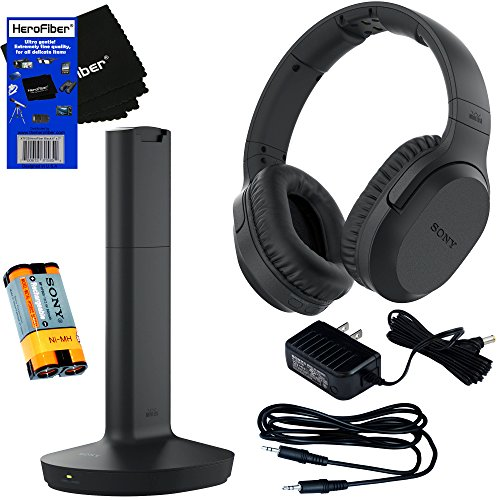 Sony MDRRF995RK Wireless RF (Radio Frequency) Headphone with Transmitter Base Station + Stereo Connecting Cable + AC adaptor + HeroFiber Ultra Gentle Cleaning Cloth Transmitter Base