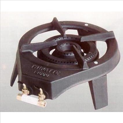 Decotec 12000 - Hornillo de gas con tres patas desmontables, hierro fundido, 2 válvulas