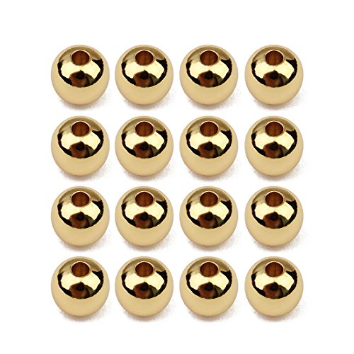 Beads Spacer Gold Round Plated - Linsoir Beads Gold Plated Round Beads 6mm Small Spacer Beads Non Tarnish Beads for Necklace Bracelet Making 50 pcs/lot