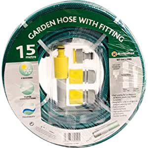 Garden Hose Reinforced Layer 15 metres With 4Pc Fittings New