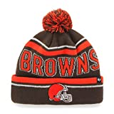 '47 NFL Cleveland Browns Women's Ellie Cuff Knit Beanie with Pom, Brown, One Size