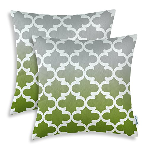 Gradient Olive (Pack of 2 CaliTime Canvas Throw Pillow Covers Cases for Couch Sofa Home Decor, Modern Gradient Quatrefoil Accent Geometric, 20 X 20 Inches, Gray/Olive Green)
