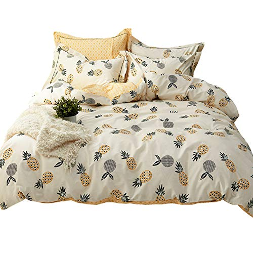 (LAYENJOY Kids Duvet Cover Twin for Teens Boys Girls Cotton Percale Comforter Cover 3 Piece Ultra Soft and Easy Care Pineapple Tropical Fruit Bedding Set Cream White Beige, No Comforter)