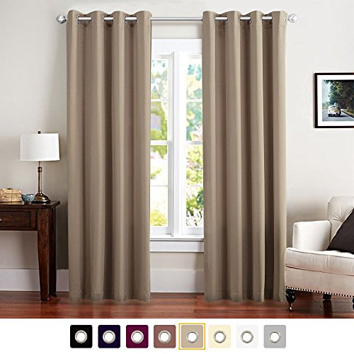 Vangao Triple Weave Light Blocking Draperies Thermal Insulated Solid Grommet Top Window Blackout Curtains/Drapes/panels for Kids/Living Room 52Wx95L Inch 1 Panel Antique Taupe