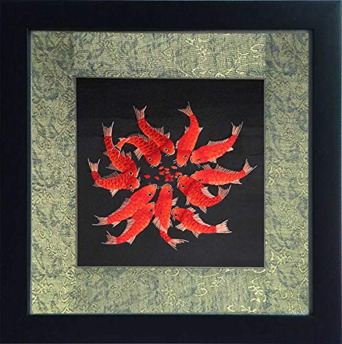andmade Embroidery Framed Twelve Red Japanese Koi Oriental Wall Hanging Art Asian Decoration Tapestry Fish Artwork Picture Gifts (09 Mulitiple Red Carp) ()