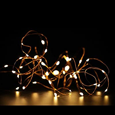 ZOIC LED String Fairy Lights Copper Wire 16ft 50 Leds /33ft 100 Leds AA Battery Powered for Outdoor and Indoor Used Christmas Holiday Wedding Party Decoration-Warm White