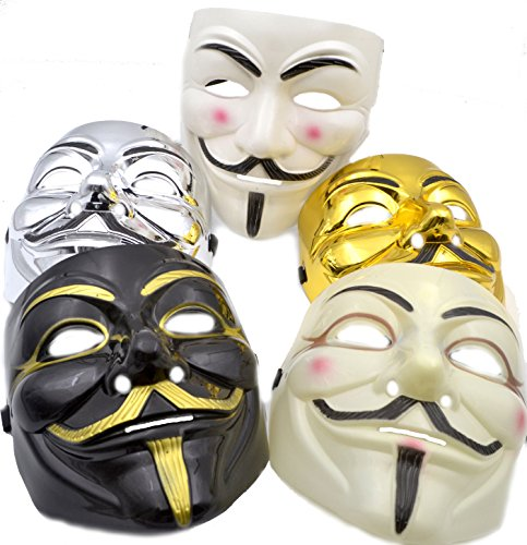 V for Vendetta Mask [5 PACK] Colors as shown - Great for a 2017 Halloween Costume (Anonymous / Guy Fawkes) (2017 Halloween Costumes For Guys)
