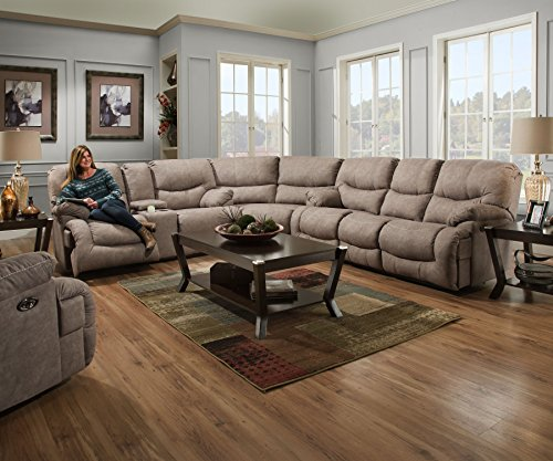 Simmons Upholstery 50455BR-53 Palermo Shale Double Motion Sofa, (Simmons Microfiber Sofa)