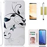 Galaxy S8 Plus Case,CASELAND Wallet Case[Premium Design]PU Leather Flip Case Stand with Sling Case for Samsung Galaxy S8 Plus White Flower