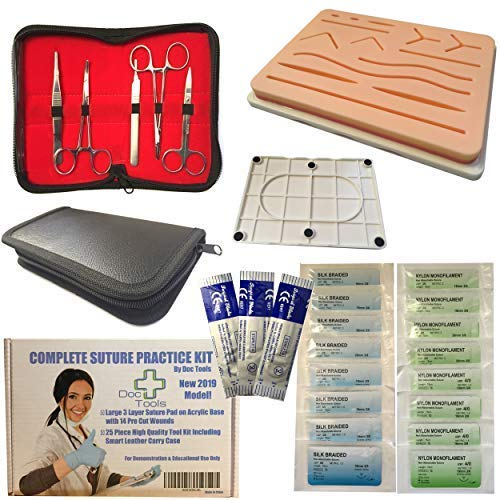 (Complete Suture Practice Kit for Suture Training | Includes Large Silicone Suture Pad with pre-Cut Wounds and Stainless Steel Suture Tool kit with Smart Carry case for Medical Students Education)