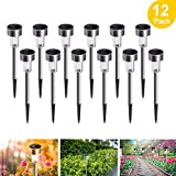 Solar Lights Outdoor, 12Pack Solar Garden Lights Stainless Steel, Waterproof LED Solar Powered Pathway Lights Outdoor Landscape Lighting for Lawn, Patio, Yard, Driveway and Walkway - Cool White