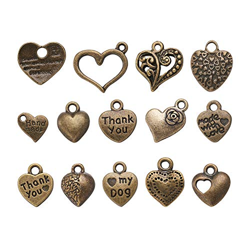 Craftdady 100Pcs Mixed Set of Antique Bronze Small Love Heart Charms 7~15x7~15mm Tibetan Vintage Metal Sweet Heart Pendants Collection for DIY Jewelry Craft Making