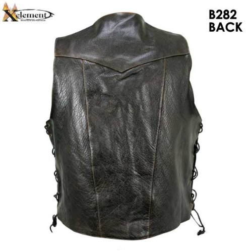 Xelement B282 Mens Distressed Brown Retro 10 Pocket Buffalo Leather Motorcycle - Small