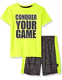 Boys' Sleeve Graphic Tee and Mesh Short Athletic 2 Piece Set