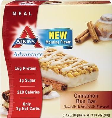 Atkins Meal Bars, Cinnamon Bun, 5 Count