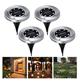 Recod Solar Ground Lights,LED Solar Garden Outdoor In-Ground Light,Waterproof Sensing Landscape Lights for Lawn Pathway Yard Driveway Patio Walkway Pool Area,White,Work Time 8-10 hour,4Pack