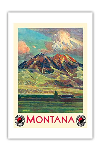 Montana Vintage Travel Poster - Montana - Absaroka Mountains - North Coast Limited - Northern Pacific Railway - Vintage Railroad Travel Poster by Gustav Wilhelm Krollmann c.1920s - Premium 290gsm Giclée Art Print 24in x 36in