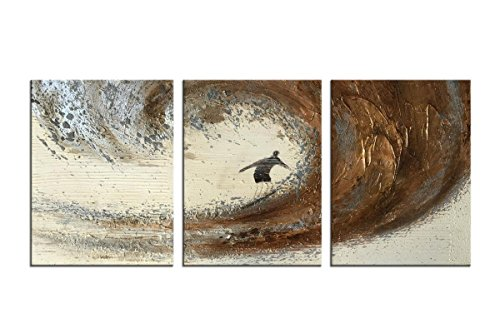 Framed Painting (HLJ 3 Pieces Modern Abstract Handmade Oil Paintings framed on Canvas Ready to Hang on Bathroom Living Room Wall Decoration (Golden Waves A, Small))
