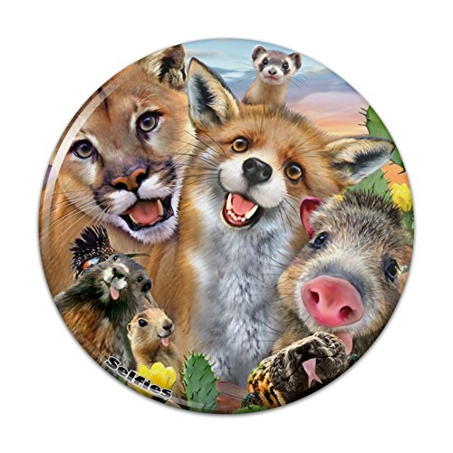 Southwestern Animals Selfie Cougar Fox Roadrunner Prairie Dog Pinback Button Pin Badge - 2.25