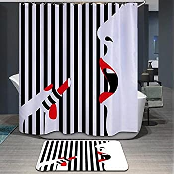 Imiee 72 X Inch Lipstick Girl Digital Printing Anti Bacterial Waterproof Polyester Shower Curtain