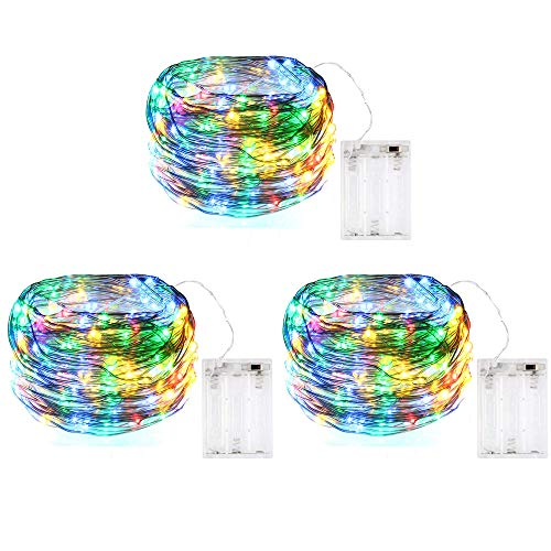[3 Pack] BOLWEO Battery Operated LED String Lights,10Ft