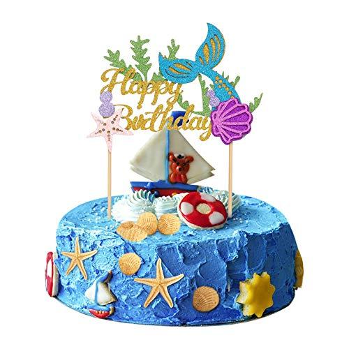 Halofuno Mermaid Cake Topper Set, Glitter Mermaid Tail Happy Birthday Cake Decoration Picks for Mermaid Theme Birthday Party, Baby Shower