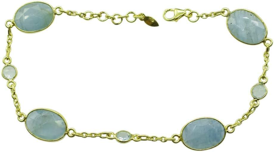 Pulsera de piedras preciosas de aguamarina auténticas, chapada en oro amarillo, plata de ley 925 maciza, hecha a mano, joyería para mujer FSJ-4098