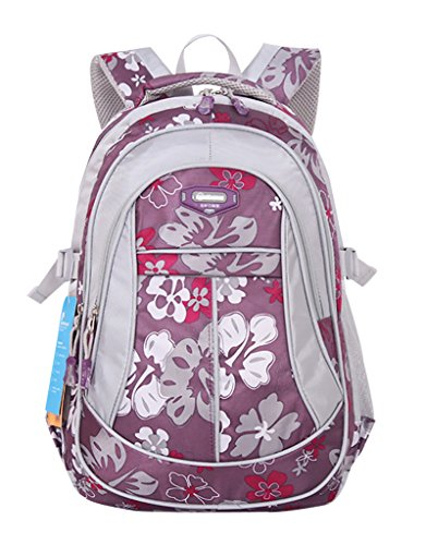 2cb320931f7 JiaYou Girl Flower Printed Primary Junior High University School Bag  Bookbag Backpack(Style A Purple