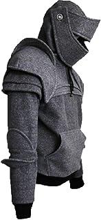 Smeiling-CA Mens Vintage Knight Mask Hoodie Sweatshirt with Kangaroo Pocket