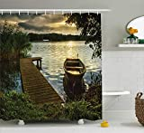 Fishing Themed Shower Curtains Ambesonne Wooden Bridge Decor Collection, Boat at Lake Shore Wooden Pier Sunset Sunbeams and Romantic Evening View, Polyester Fabric Bathroom Shower Curtain Set with Hooks, 75 Inches Long, Olive