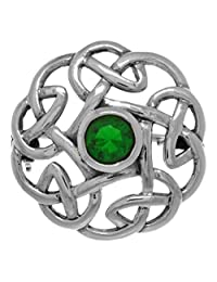 Jewelry Trends Sterling Silver Round Celtic Thistle Brooch Pin with Green Glass