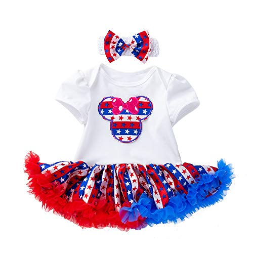(Mulfei 4th of July Toddler Baby Girl American Flag Romper Tutu Dress with Headband (White and Minnie Mouse, 12-24 Months))