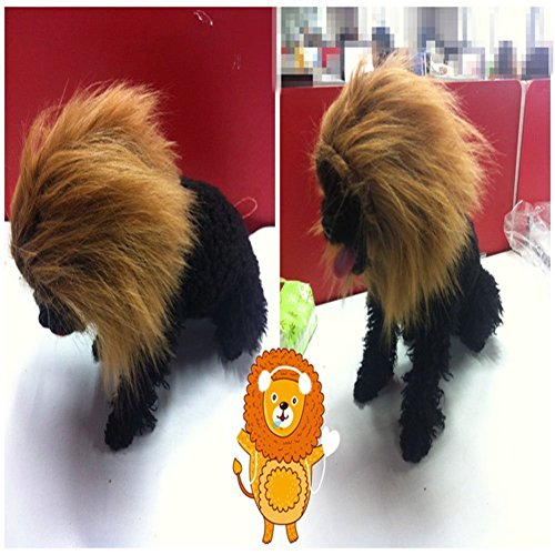 Lion Mane Dog Wig, FMJI Pet Costumes Cat/ Small Dog Costume with Elastic Straps Synthetic Accessories for Halloween &Christmas(C) -