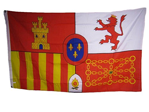 - ALBATROS Spanish Spain Coat of Arms Lion Castle Chain 3 ft x 5 ft Flag Banner Indoor/Outdoor for Home and Parades, Official Party, All Weather Indoors Outdoors