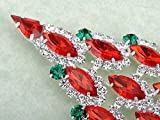 Alilang Synthetic Ruby Marquise Clear Crystal Rhinestone Christmas Tree Holiday Fashion Pin Brooch