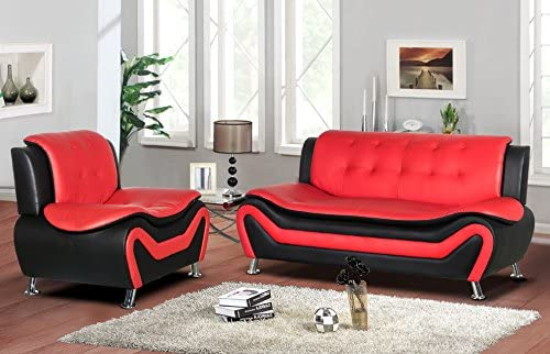 Container Furniture Direct Arul Linen Upholstered Mid Century Modern Set with 77.5 Sofa Chair, Black Red