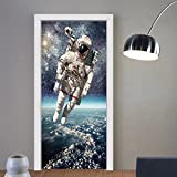 Gzhihine custom made 3d door stickers Galaxy Astronaut on Rocky Surface of Moon American Flag USA Rocket Traveling Space Artprint Decor Grey Navy Blue For Room Decor 30x79