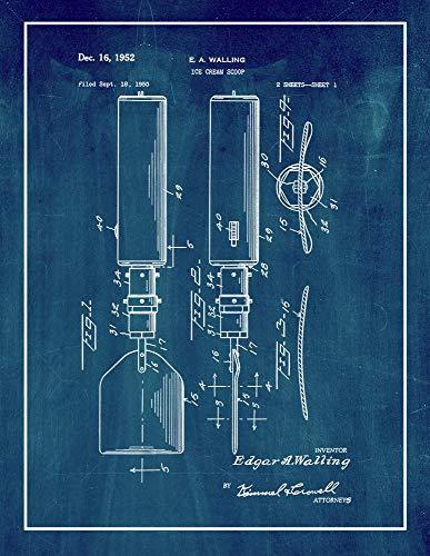 Ice Cream Scoop Patent Print Midnight Blue with Border (5