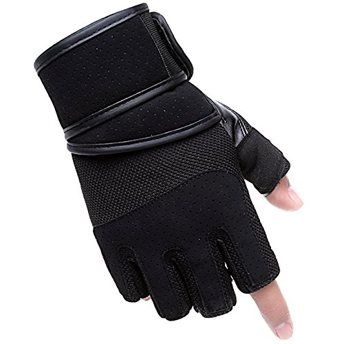 Allnice® 1 Pair Men's Half-finger Weightlifting Gloves Training Equipment Antiskid Sports Microfiber Mens Sports Gloves