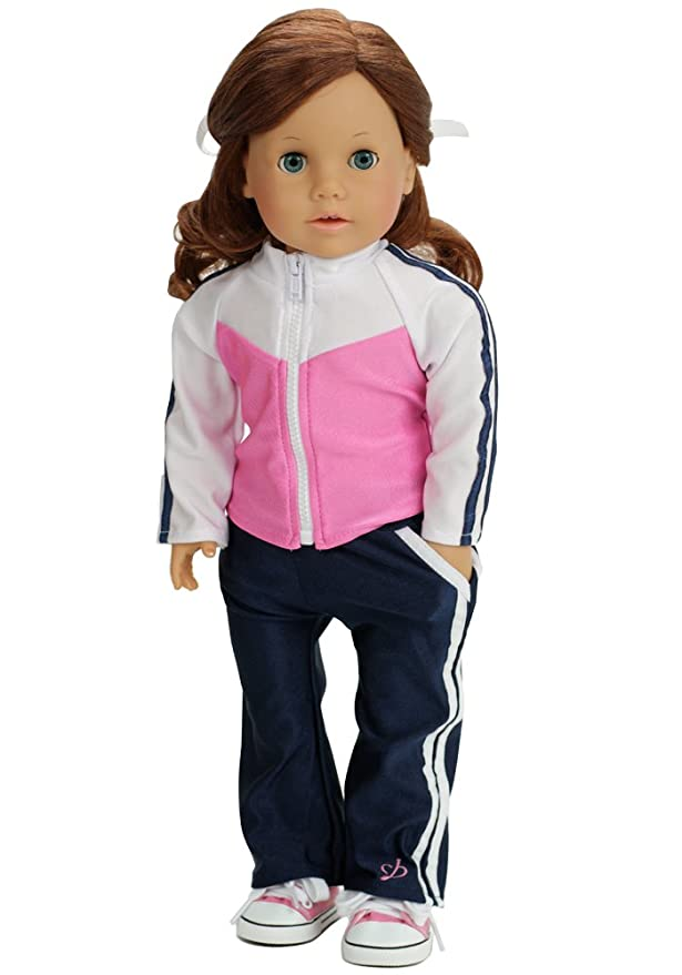 2 Pc Stretch Knit Pink/Navy Doll Track Suit 18 Inch Doll Clothing ...