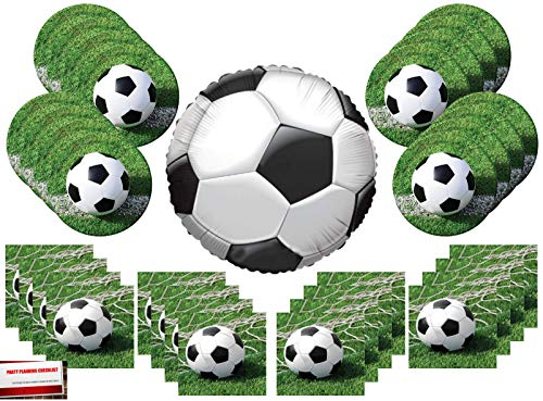 Soccer Ball Party Supplies Bundle Pack for 16 with 18 Inch Soccer Ball Balloon (Plus Party Planning Checklist by Mikes Super -